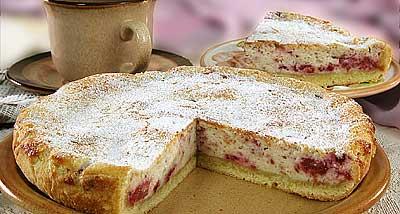 Малиново творожный пирог
